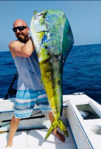 Client with a 57lb Bull Dorado caught out of Los Barriles